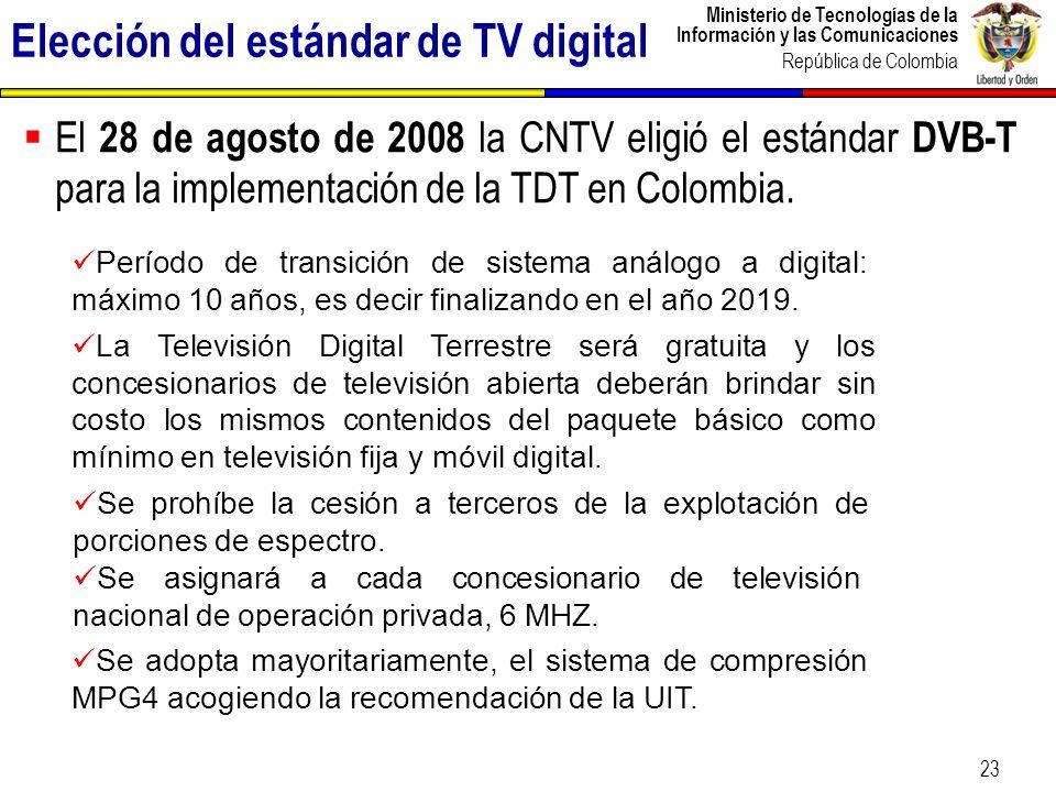 Ministerio de Tecnologías de la Información y las Comunicaciones República de Colombia 24 Dividendo digital Debido a que la TV digital optimiza el uso del espectro radioeléctrico, el espectro con el cual actualmente cuenta el servicio de televisión, se reduce.