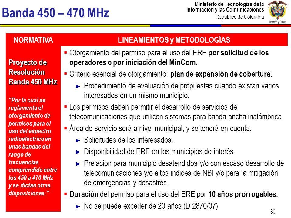Ministerio de Tecnologías de la Información y las Comunicaciones República de Colombia 31 Banda 1900 MHz NORMATIVALINEAMIENTOS y METODOLOGÍAS Proyecto de Decreto Banda 1.900 MHz Por el cual se establecen las condiciones, requisitos y procedimientos para otorgar permisos para el uso del espectro radioeléctrico en la banda 1900 MHz y se dictan otras disposiciones.