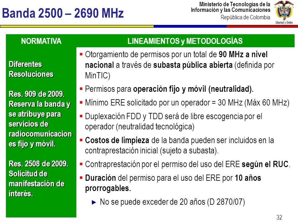Ministerio de Tecnologías de la Información y las Comunicaciones República de Colombia CONTENIDO 1.Contexto del sector TIC en Colombia 2.Transición hacia la TV digital 3.Adopción de las IMT 4.Incursión en comunicaciones satelitales