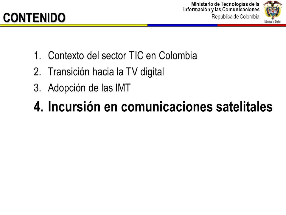 Ministerio de Tecnologías de la Información y las Comunicaciones República de Colombia 34 Programa del Ministerio de Tecnologías de la Información y las Comunicaciones para Fomentar el acceso y servicio universal a las TIC en las zonas donde no se cuenta con cobertura o esta es insuficiente, ejecutando las políticas de Gobierno encaminadas al desarrollo y la competitividad, por medio de la gestión de proyectos de telecomunicaciones sociales.