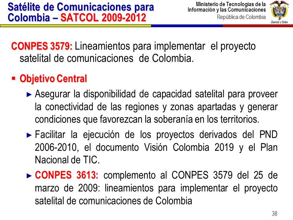 Ministerio de Tecnologías de la Información y las Comunicaciones República de Colombia 39 Especificaciones Técnicas – Proyecto SATCOL Cobertura de Colombia, territorio continental y mares territoriales.