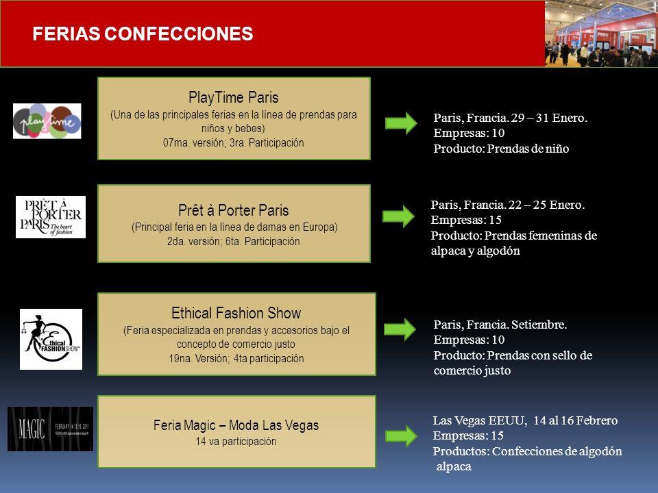 FERIAS DE MANUFACTURAS DIVERSAS Feria EXPOCONSTRUCCION y EXPODISEÑO (2da mejor feria en Latinoamérica – sector Construcción) 10ma Versión – 3ra participación Feria ANDINA PACK (Principal Feria de la Industria del envase ) 11 va versión – 1ra participación Mayo Bogotá, Colombia Empresas: 10-12 Octubre Bogotá, Colombia Empresas: 6-8 Feria EXPONOR ( Feria del sector Minero Chileno) 14va versión – 1ra Participación Junio Antofagasta, Chile Empresas: 8-10