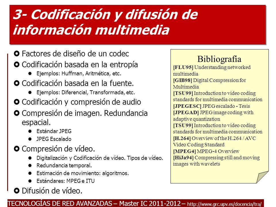 TECNOLOGÍAS DE RED AVANZADAS – Master IC 2011-2012 Introducción a la compresión de datos.