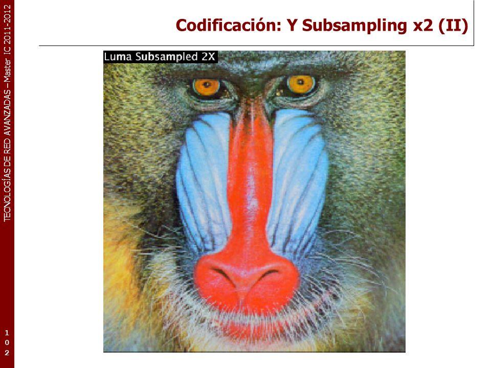 TECNOLOGÍAS DE RED AVANZADAS – Master IC 2011-2012 Codificación: Y Subsampling x4 (III) 103103103
