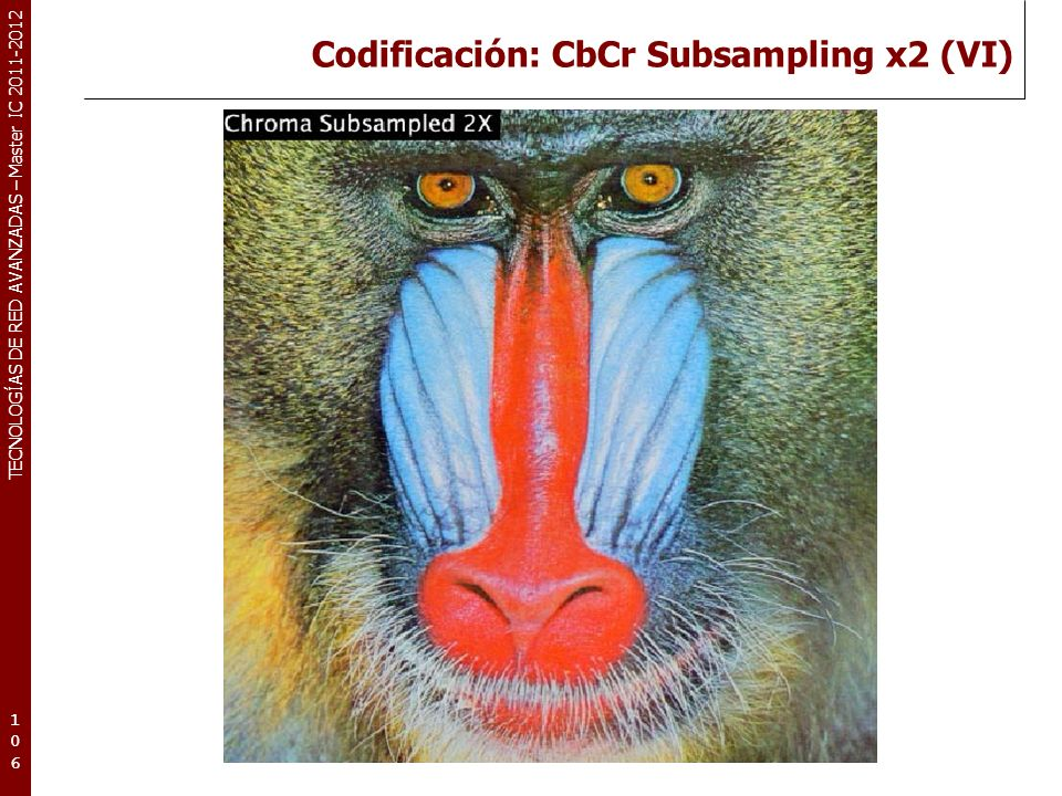 TECNOLOGÍAS DE RED AVANZADAS – Master IC 2011-2012 Codificación: CbCr Subsampling x4 (VII) 107107107