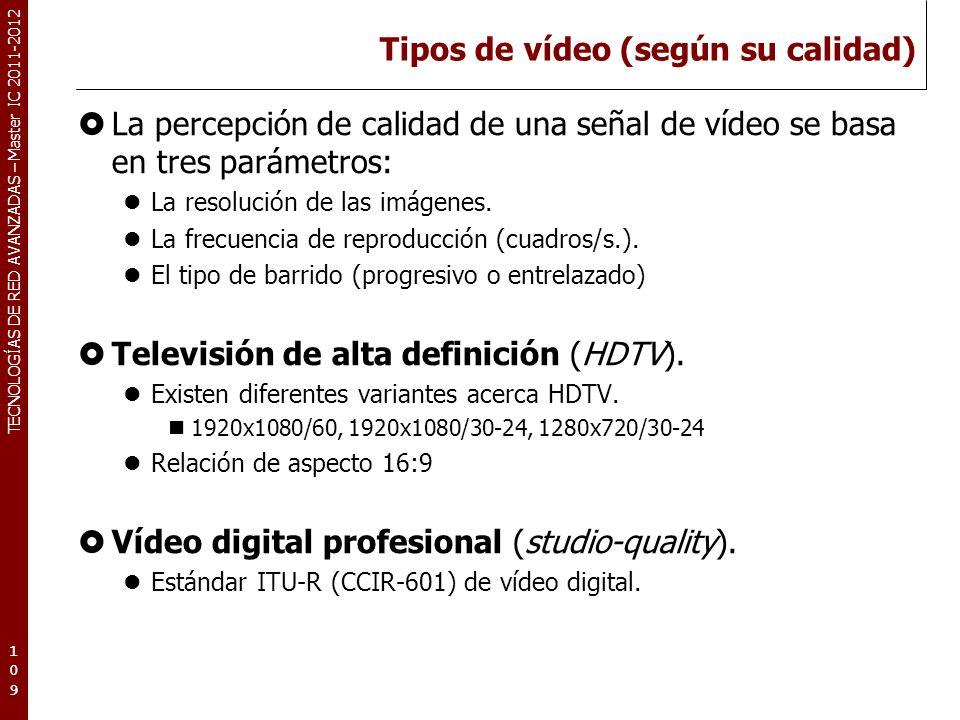 TECNOLOGÍAS DE RED AVANZADAS – Master IC 2011-2012 Tipos de vídeo (según su calidad) Vídeo de difusión (TV broadcast).