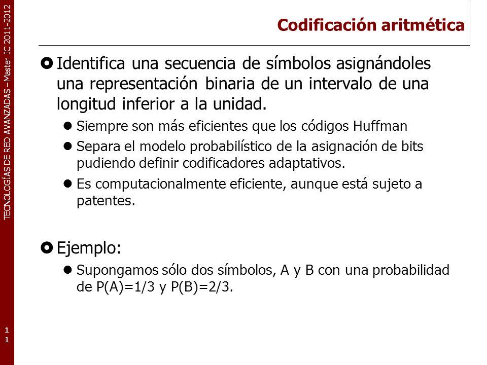 TECNOLOGÍAS DE RED AVANZADAS – Master IC 2011-2012 Codificación aritmética: Ejemplo 12 A B 2/3 4/9 8/9 AA AB BA BB 16/27 8/27 AAA AAB ABA ABB BAA BAB BBA BBB 0 1 P(A) = 1/3 P(B) = 2/3 segmento 31/32 15/16 14/16 6/8 3/8 1/4 10/16 4/8 código.11111.110.1010.100.1111.1110.01.011