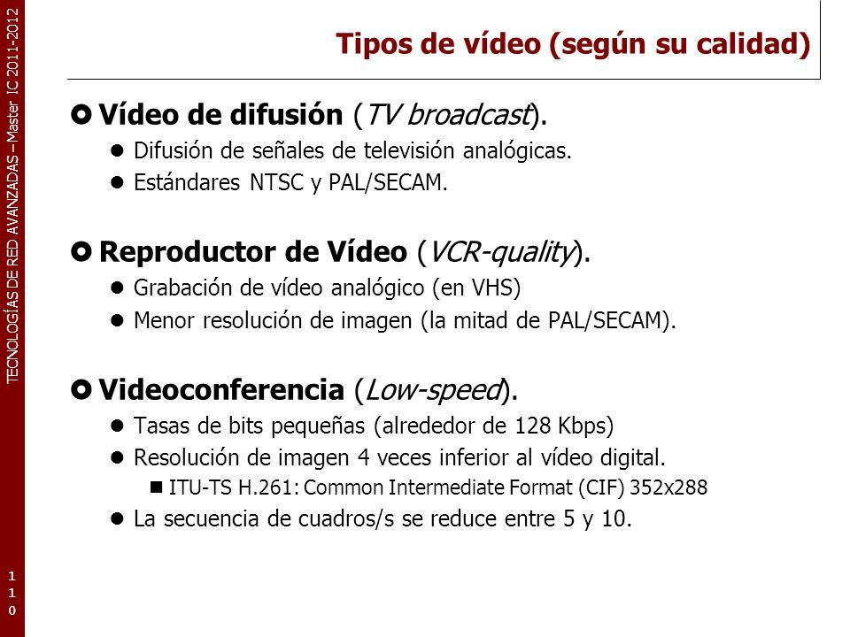 TECNOLOGÍAS DE RED AVANZADAS – Master IC 2011-2012 Parámetros específicos de red I Lo que debe suministrar una red para el envío en tiempo real de una secuencia de vídeo.