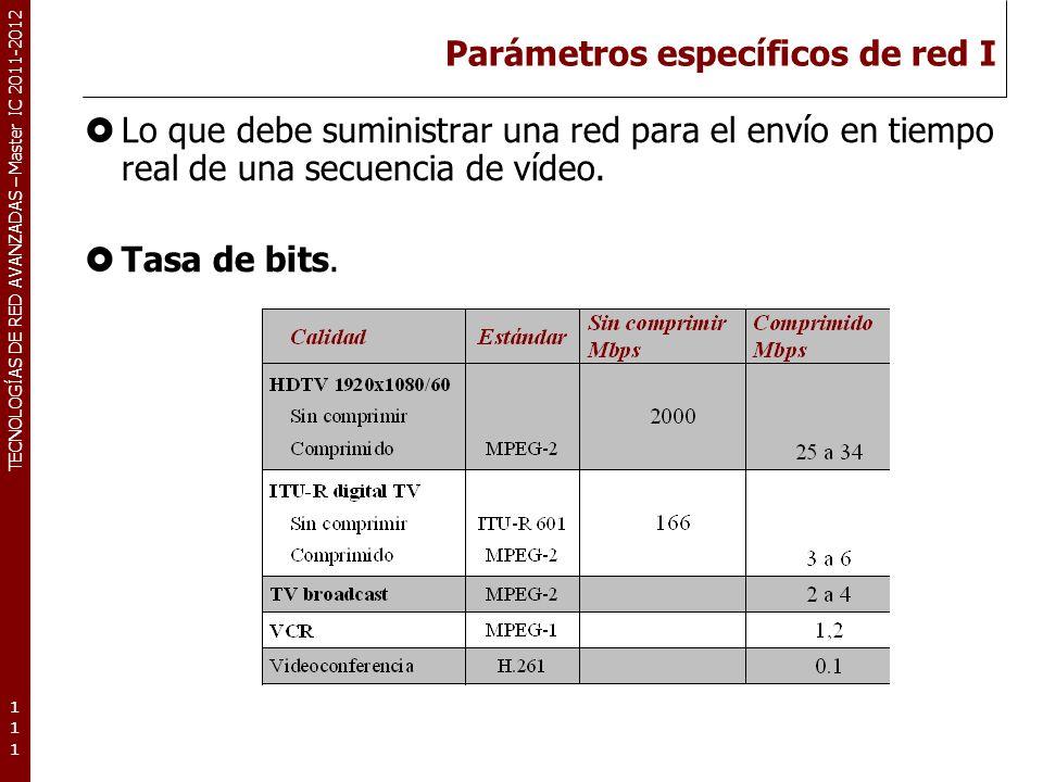 TECNOLOGÍAS DE RED AVANZADAS – Master IC 2011-2012 Parámetros específicos de red II Retardo y varianza del retardo.
