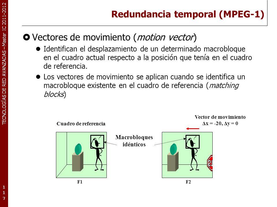 TECNOLOGÍAS DE RED AVANZADAS – Master IC 2011-2012 Redundancia temporal (MPEG-1) Búsqueda de macrobloques.
