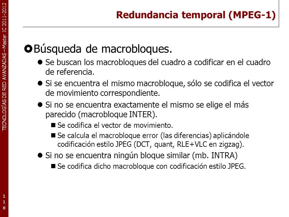 TECNOLOGÍAS DE RED AVANZADAS – Master IC 2011-2012 Redundancia temporal (MPEG-1) Tipos de cuadros I (Intracoded frames): Cuadro codificado usando JPEG (autocontenido).