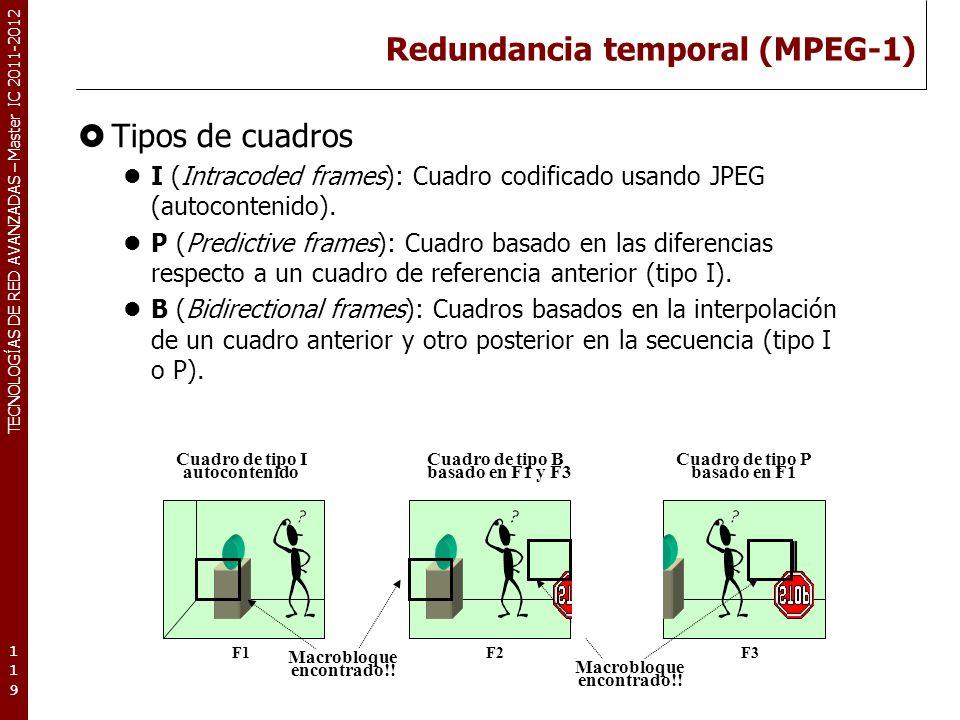 TECNOLOGÍAS DE RED AVANZADAS – Master IC 2011-2012 Redundancia temporal (MPEG-1) Secuencias de cuadros (Group Of Pictures) Los cuadros de tipo I son los menos comprimidos, a continuación los de tipo P y por último los que más compresión obtiene son los de tipo B.