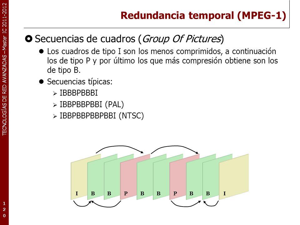 TECNOLOGÍAS DE RED AVANZADAS – Master IC 2011-2012 Redundancia temporal (MPEG-1) La importancia de los cuadros de tipo I.