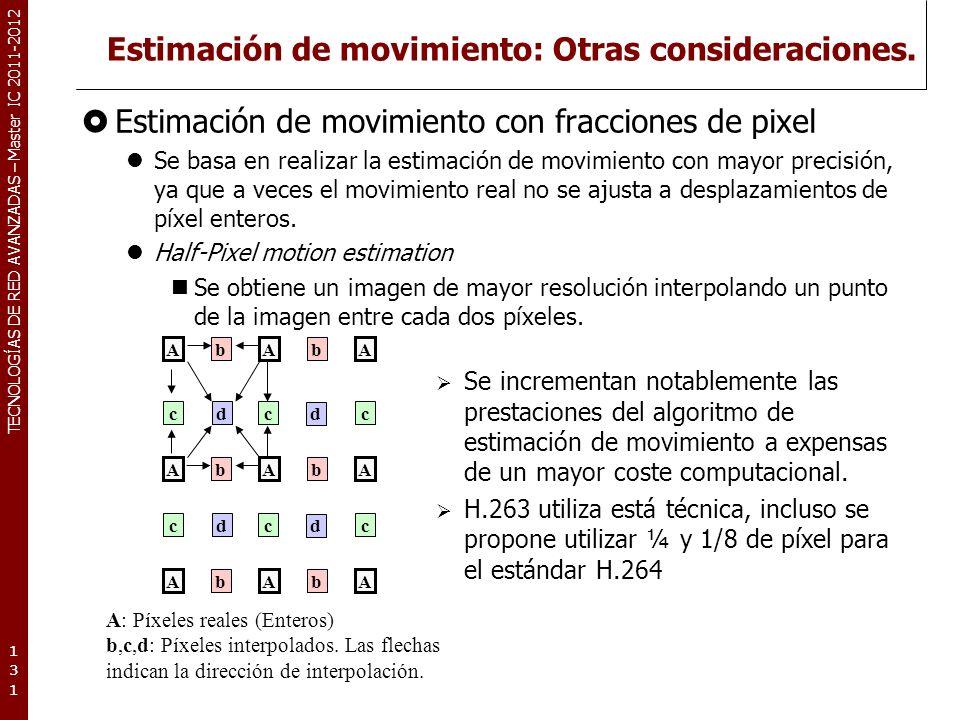 TECNOLOGÍAS DE RED AVANZADAS – Master IC 2011-2012 Estimación de movimiento: Mejoras propuestas.