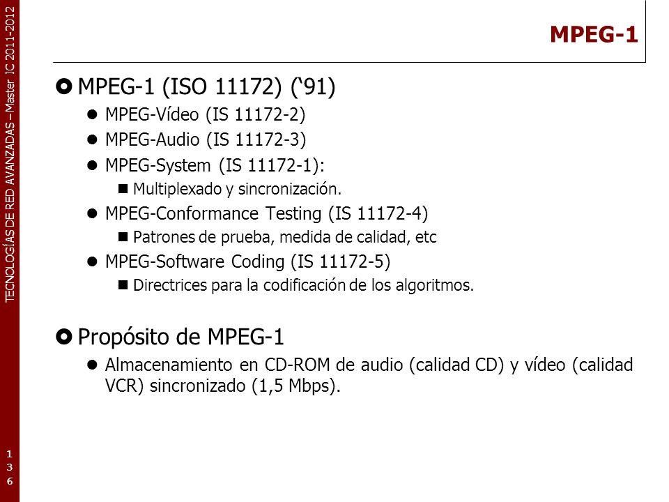 TECNOLOGÍAS DE RED AVANZADAS – Master IC 2011-2012 MPEG-1 Características de MPEG-1: Resolución de imagen: 352x(288 ó 240) (PAL/NTSC).