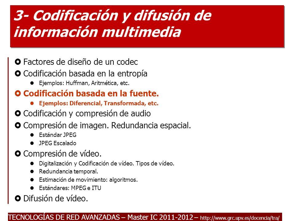 TECNOLOGÍAS DE RED AVANZADAS – Master IC 2011-2012 Codificación basada en la fuente.