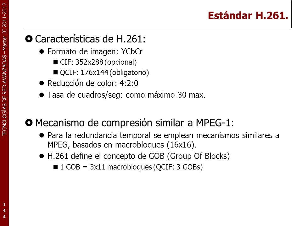 TECNOLOGÍAS DE RED AVANZADAS – Master IC 2011-2012 Estándar H.261.