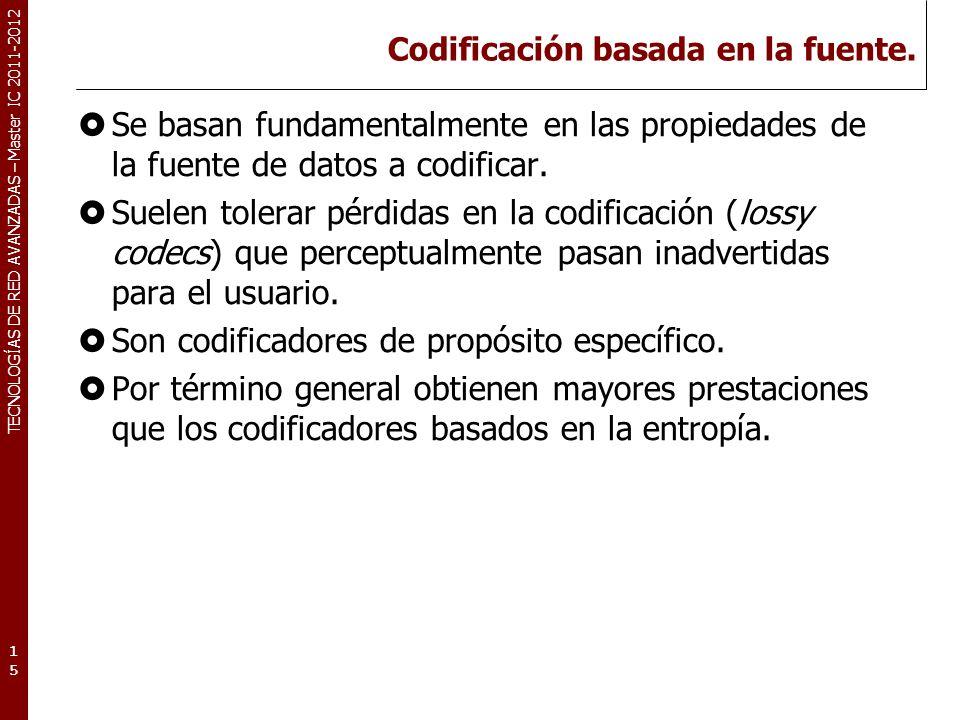 TECNOLOGÍAS DE RED AVANZADAS – Master IC 2011-2012 Codificación Diferencial Se basa en la codificación de las diferencias entre dos símbolos consecutivos.