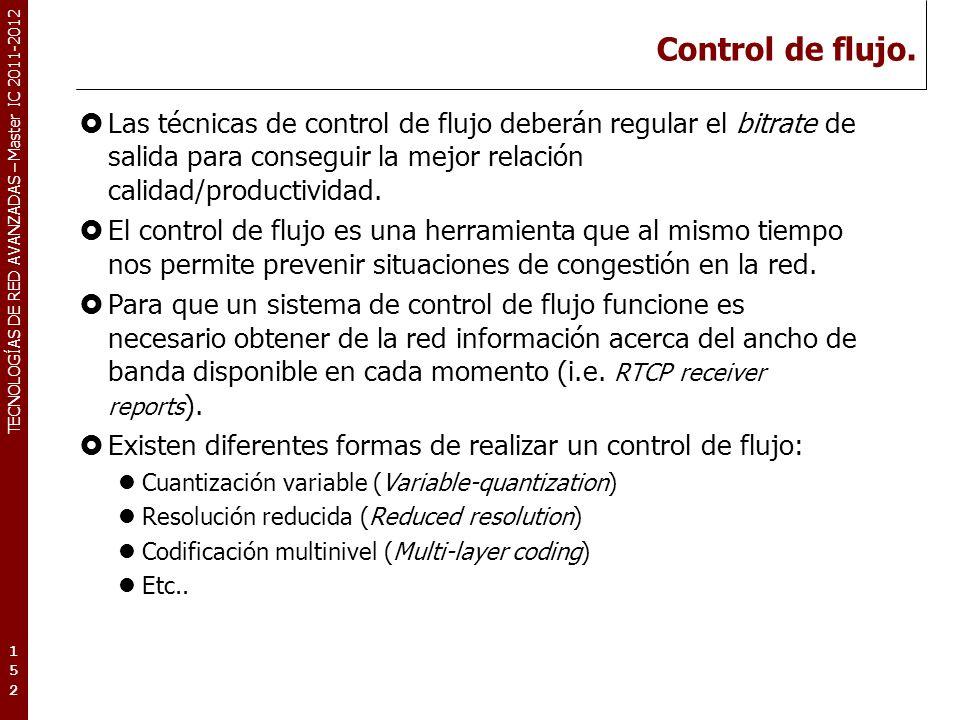 TECNOLOGÍAS DE RED AVANZADAS – Master IC 2011-2012 Variabilidad del bitrate.