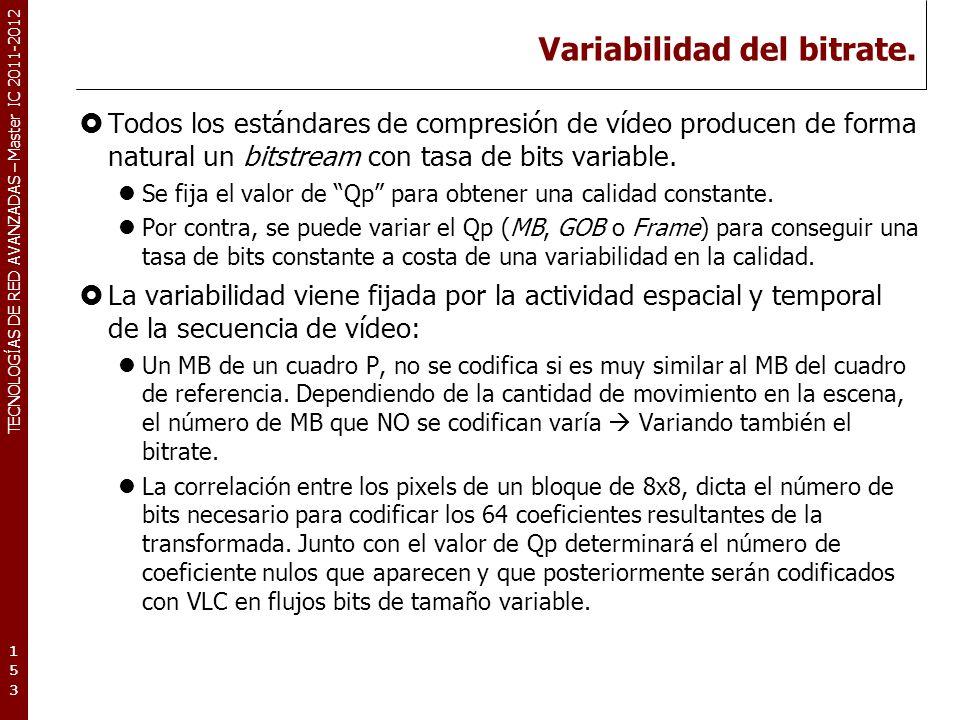 TECNOLOGÍAS DE RED AVANZADAS – Master IC 2011-2012 Variabilidad del bitrate (II).