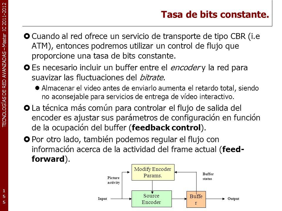 TECNOLOGÍAS DE RED AVANZADAS – Master IC 2011-2012 Ajuste de parámetros de codificación.