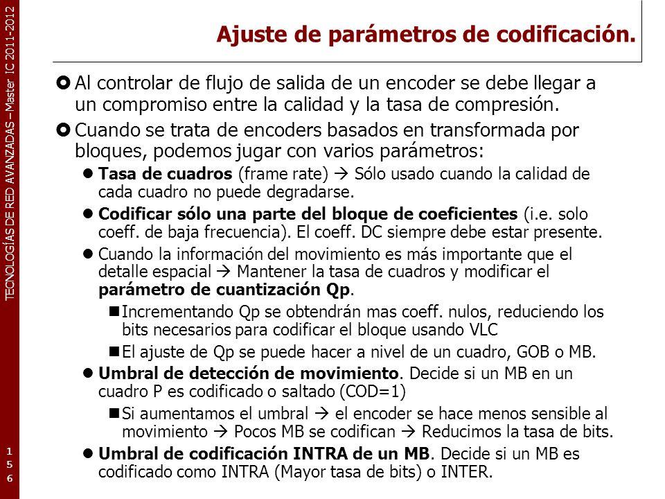 TECNOLOGÍAS DE RED AVANZADAS – Master IC 2011-2012 Cuantización variable.
