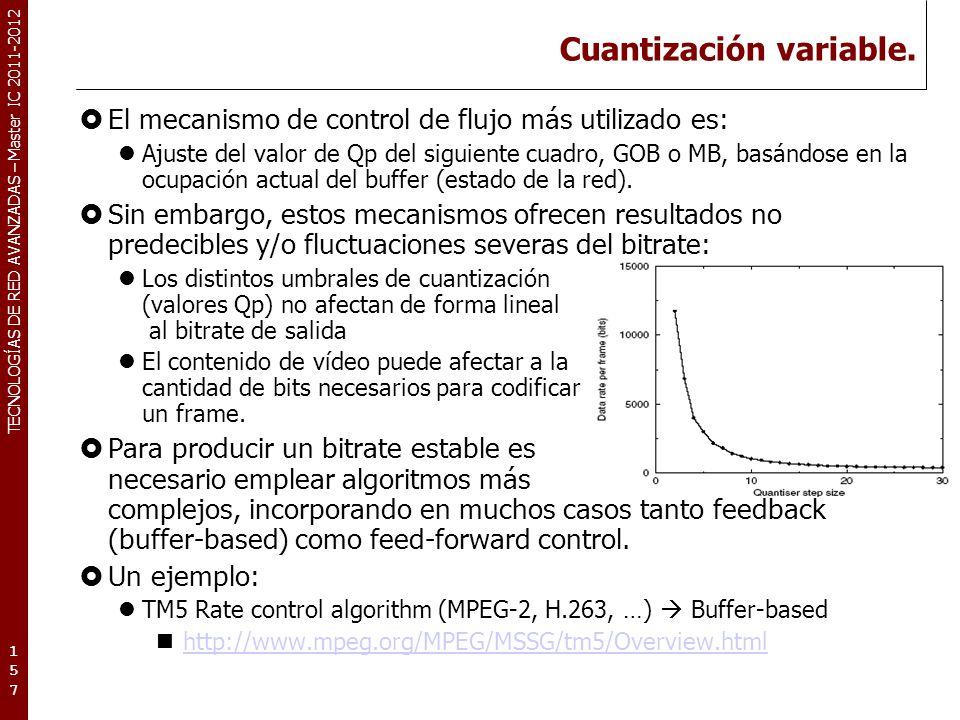 TECNOLOGÍAS DE RED AVANZADAS – Master IC 2011-2012 TM5 rate control algorithm (I).