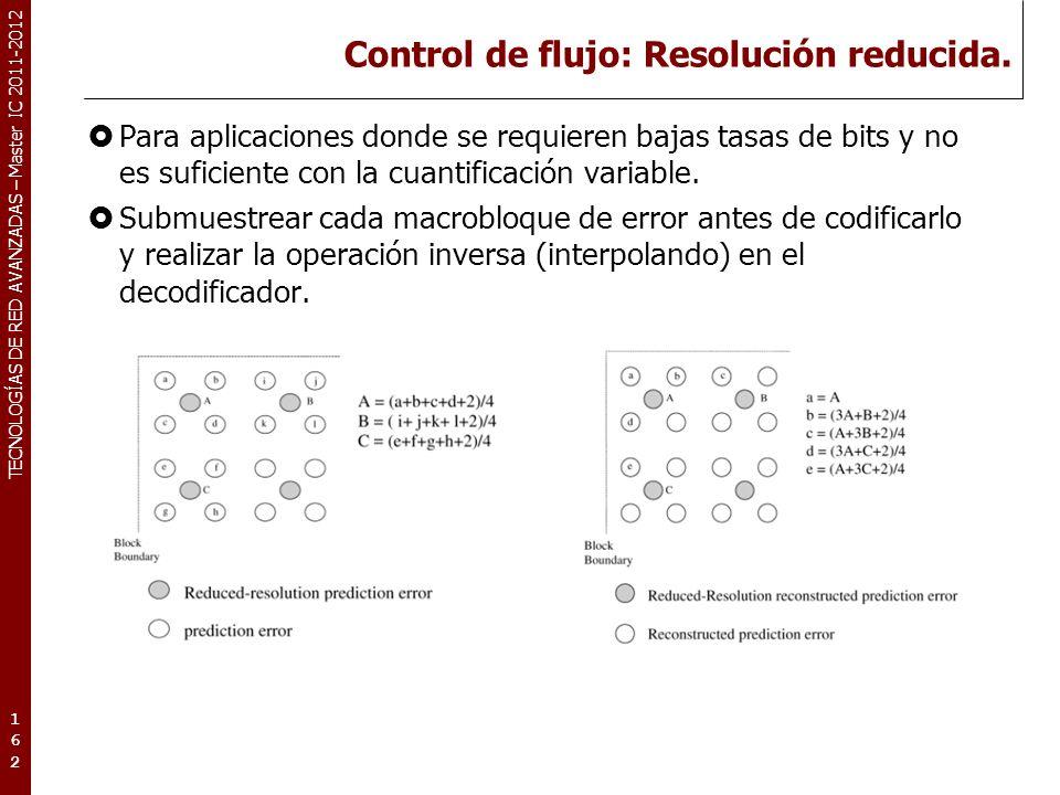 TECNOLOGÍAS DE RED AVANZADAS – Master IC 2011-2012 Control de flujo: Resolución reducida (2).