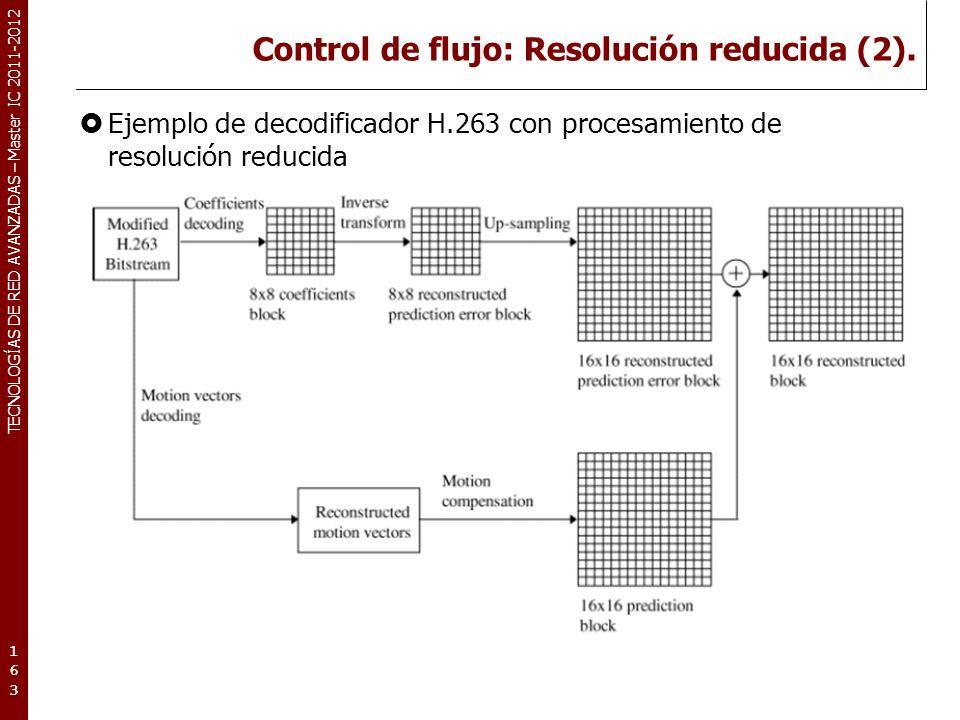 TECNOLOGÍAS DE RED AVANZADAS – Master IC 2011-2012 Control de flujo: Codificación multinivel.