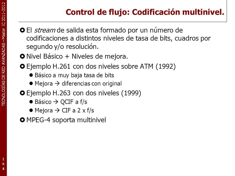 TECNOLOGÍAS DE RED AVANZADAS – Master IC 2011-2012 Control de flujo: Codificación multinivel (2).