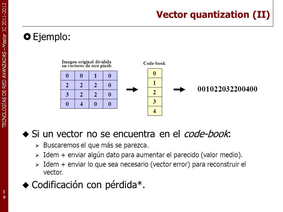 TECNOLOGÍAS DE RED AVANZADAS – Master IC 2011-2012 Vector quantization (III) CLUT (Color Look-Up Table) Es utilizado para codificar imágenes RGB, que normalmente no utilizan todos los colores posibles.
