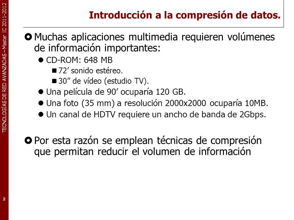 TECNOLOGÍAS DE RED AVANZADAS – Master IC 2011-2012 Introducción a la compresión de datos (II).