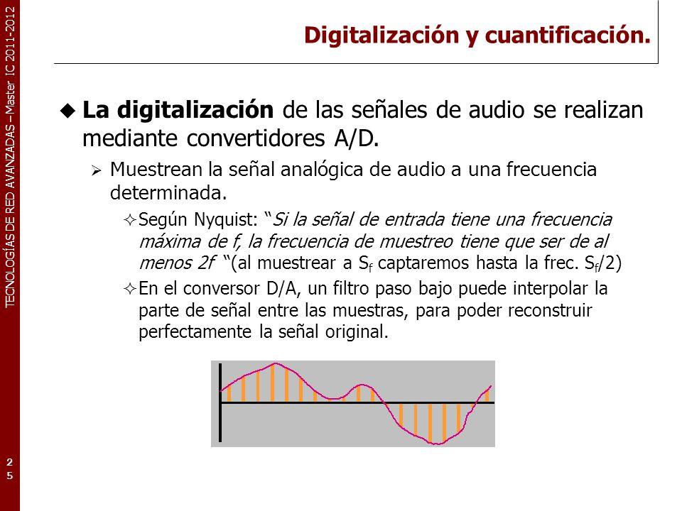 TECNOLOGÍAS DE RED AVANZADAS – Master IC 2011-2012 Digitalización y cuantificación.