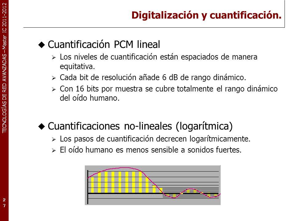 TECNOLOGÍAS DE RED AVANZADAS – Master IC 2011-2012 Digitalización: Interfaz MIDI MIDI (Musical Instrument Digital Interface).
