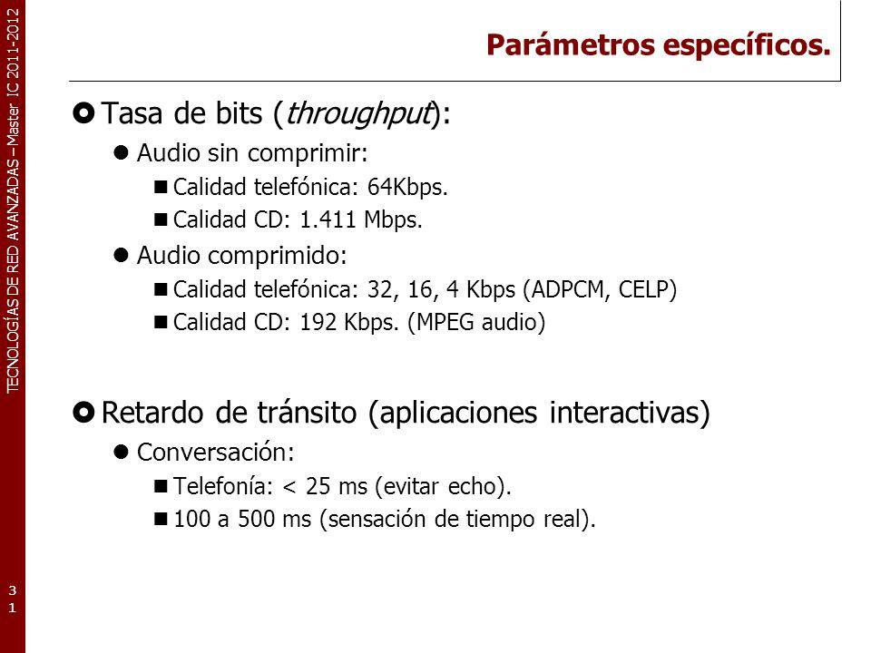TECNOLOGÍAS DE RED AVANZADAS – Master IC 2011-2012 Parámetros específicos.