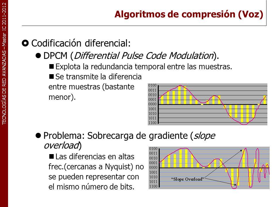 TECNOLOGÍAS DE RED AVANZADAS – Master IC 2011-2012 Algoritmos de compresión (Voz) 34 Codificación diferencial adaptativa: ADPCM (Adaptive Differential Pulse Code Modulation).