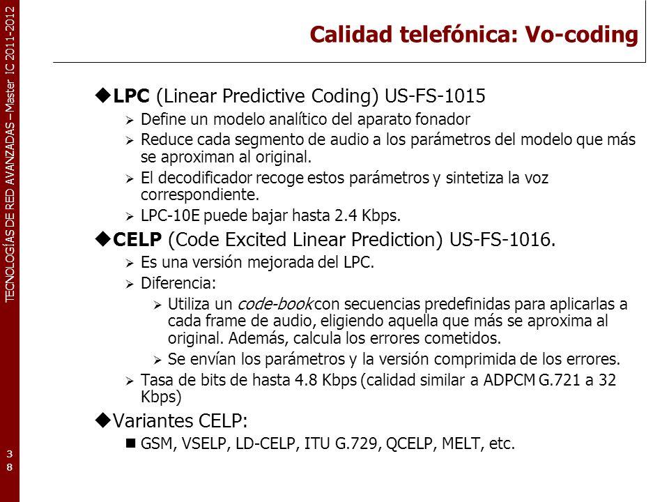 TECNOLOGÍAS DE RED AVANZADAS – Master IC 2011-2012 Calidad telefónica Tabla resumen de algunos codecs de audio.