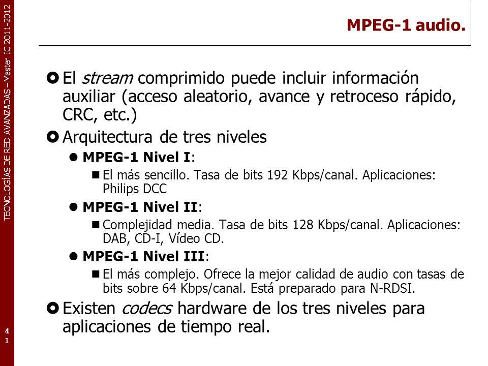 TECNOLOGÍAS DE RED AVANZADAS – Master IC 2011-2012 MPEG audio: Fundamentos.