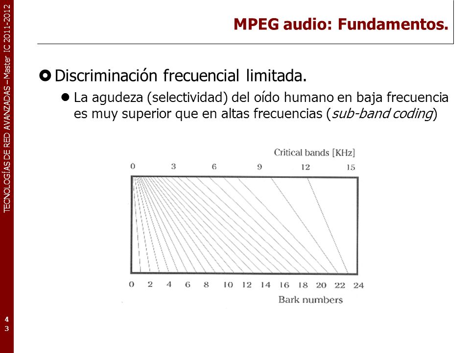 TECNOLOGÍAS DE RED AVANZADAS – Master IC 2011-2012 MPEG Audio: Diagrama de bloques 44 Time-Frec Sub-band filtering Modelo psico-acúst.
