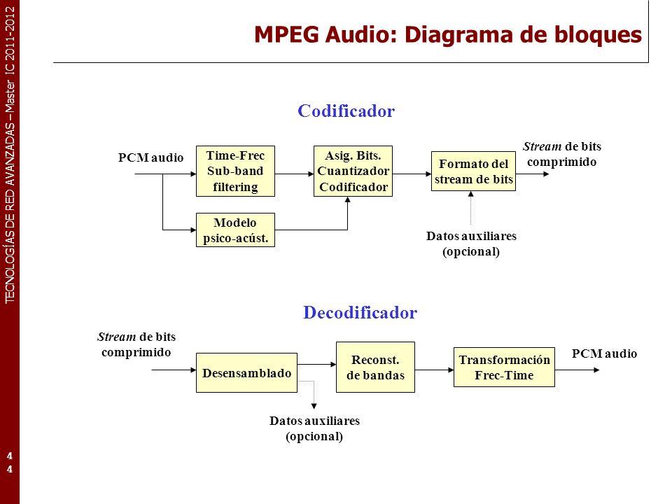 TECNOLOGÍAS DE RED AVANZADAS – Master IC 2011-2012 MPEG-1 audio: Niveles.