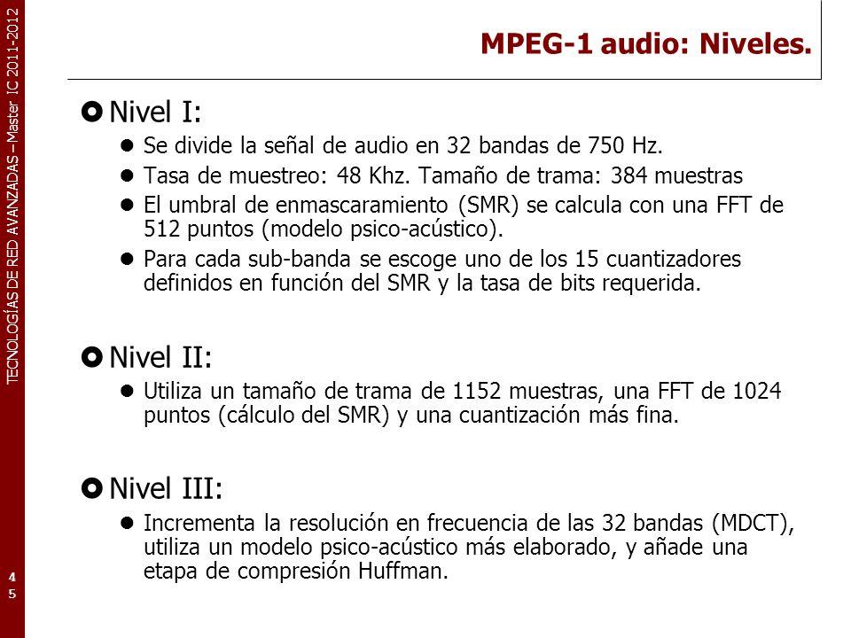 TECNOLOGÍAS DE RED AVANZADAS – Master IC 2011-2012 MPEG Audio: Calidad de audio Parámetros de calidad objetivos: MSE (Mean Square Error).