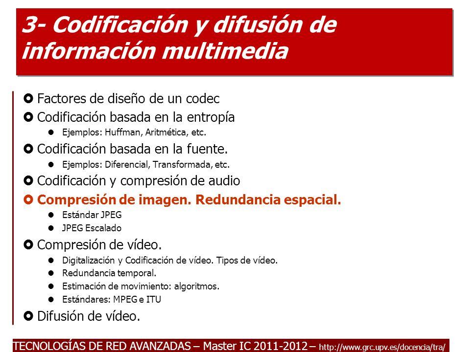 TECNOLOGÍAS DE RED AVANZADAS – Master IC 2011-2012 Introducción a la codificación de imágenes.