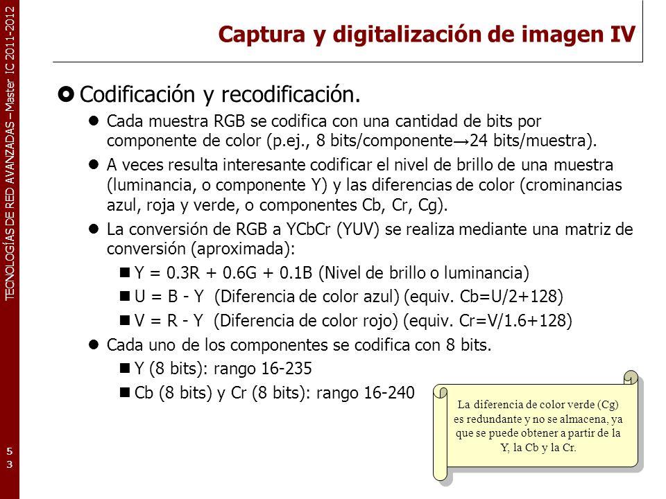 TECNOLOGÍAS DE RED AVANZADAS – Master IC 2011-2012 Captura y digitalización de imagen V Subsampling: El ojo es más sensible a la información de luminancia que de crominancia.