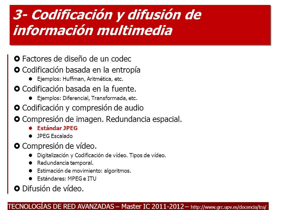 TECNOLOGÍAS DE RED AVANZADAS – Master IC 2011-2012 Redundancia espacial: JPEG Es un estándar ISO (91) cuyo origen proviene del grupo JPEG (Joint Photographic Expert Group).