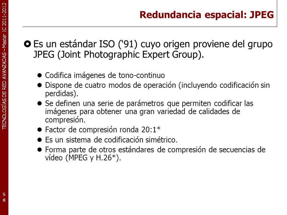 TECNOLOGÍAS DE RED AVANZADAS – Master IC 2011-2012 Codificación JPEG (pasos) Codificación JPEG en modo secuencial con pérdidas Paso 1: Preparación de la imagen.