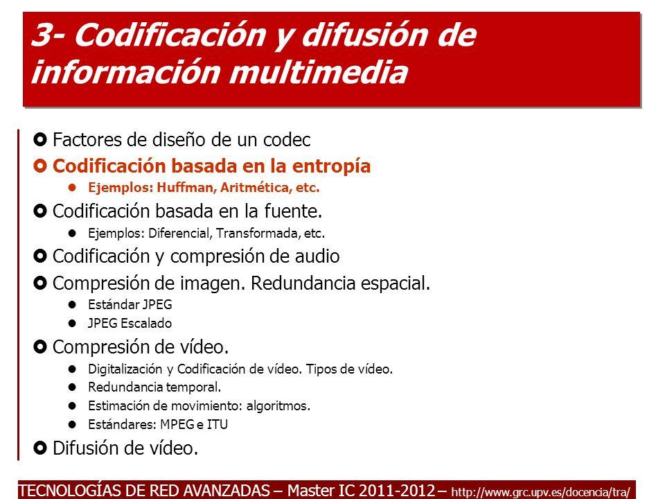 TECNOLOGÍAS DE RED AVANZADAS – Master IC 2011-2012 Codificación basada en la entropía.