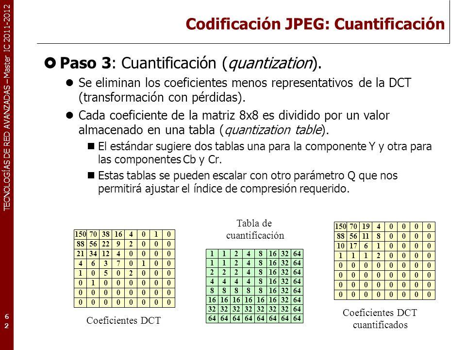 TECNOLOGÍAS DE RED AVANZADAS – Master IC 2011-2012 Codificación JPEG: Codificación entropía Paso 4: Codificación DPCM de los componentes DC de cada bloque.