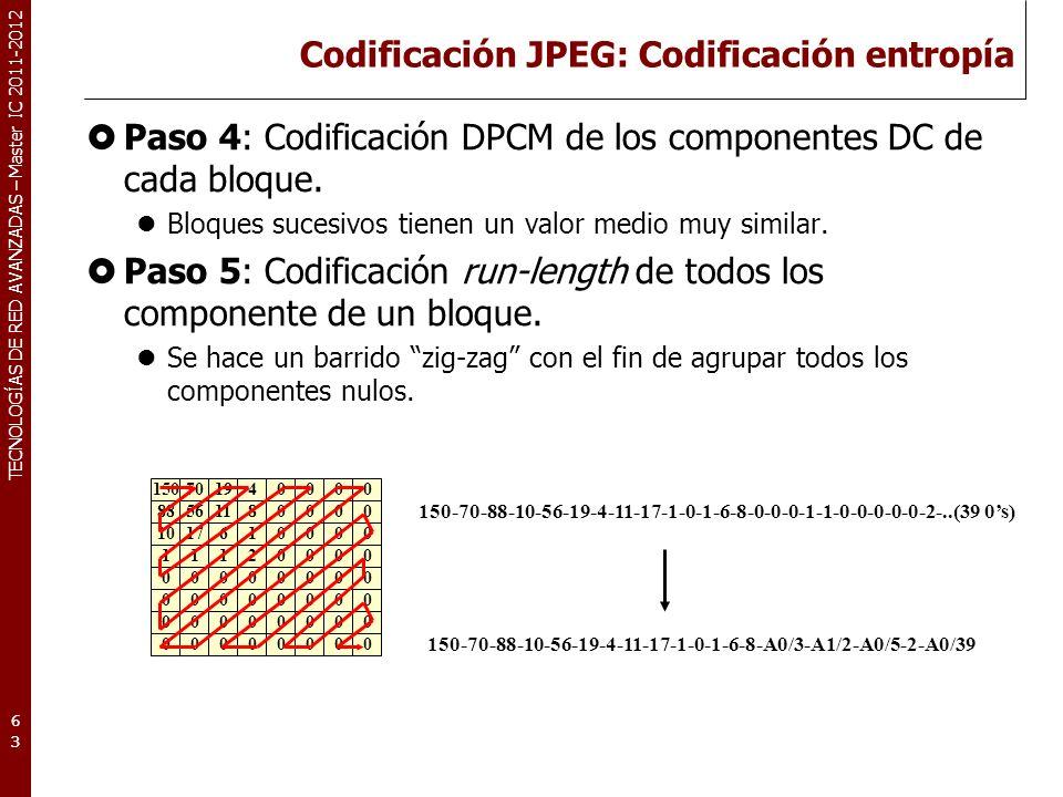 TECNOLOGÍAS DE RED AVANZADAS – Master IC 2011-2012 Codificación JPEG: Codificación entropía Paso 6: Codificación estadística VLC: Huffman A lo obtenido en el paso anterior se aplica el algoritmo de Huffman para comprimir aún más la información.
