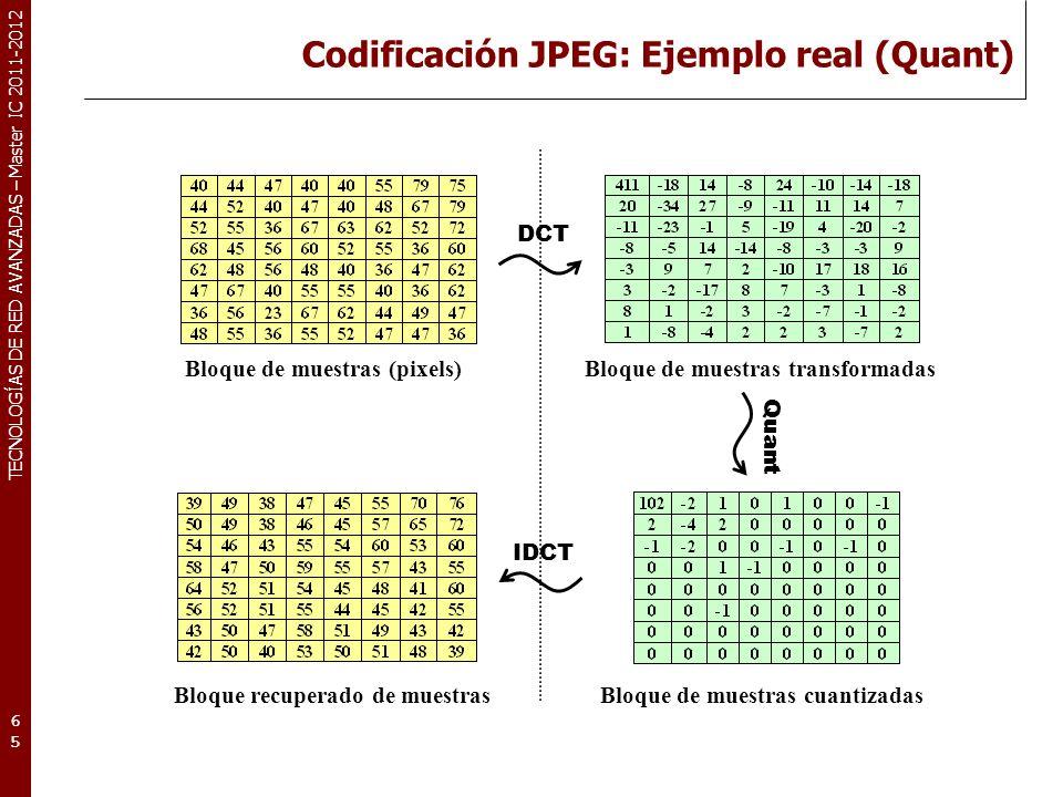 TECNOLOGÍAS DE RED AVANZADAS – Master IC 2011-2012 Codificación JPEG: Ejemplo real I (RLE+VLC) 66 Bloque de muestras cuantizadas Codificación RLE+VLC de los coeficientes cuantizados Paso 1.