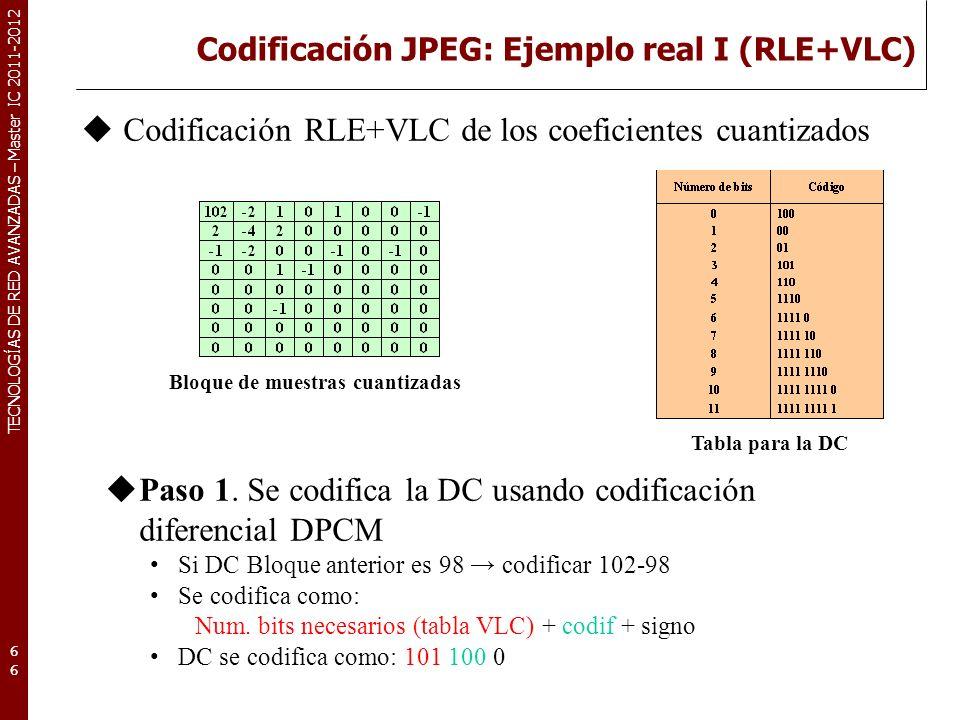TECNOLOGÍAS DE RED AVANZADAS – Master IC 2011-2012 Codificación JPEG: Ejemplo real II (RLE+VLC) 67 Paso 2: Se codifica en zig-zag pares Tabla para pares Bloque de muestras cuantizadas Parte del bloque codificado con VLC Existe código de escape: 0000 01 RRRR RR NNNN NNNN
